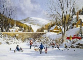 Cobble Hill 1000 pcs Puzzle - Hockey On Frozen Lake