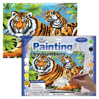 Painting By Numbers - 10 Colors Set : Tiger & Cubs