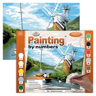 Painting By Numbers - 10 Colors Set : Windmill on the River