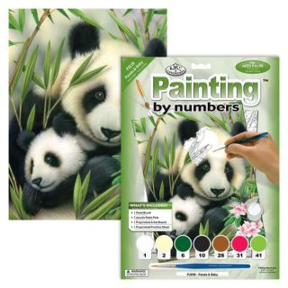 Painting By Numbers - 7 Colors Set : Panda & Baby