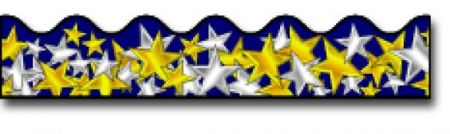 Borders_Scalloped - Gold and Silver Stars #CD1229
