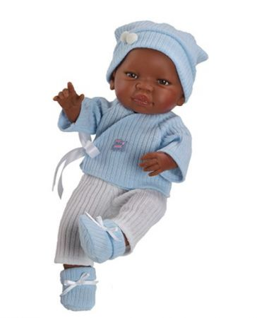 """Los Bebitos 17.5"""" Paola Reina African American Baby Boy"""